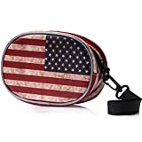 MoKo Beats Solo 2 / Solo 3 Wireless Headphones Case, Portable Travel Premium Vegan Leather Bag Pouch Cover with Holding Strap for Beats Solo2, Solo3, Studio, Solo HD Headset (US Flag Independence Day)