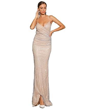 f659e38fe8 Miss ord deep v Backless Sleeveless Dresses Female Glitter Evening ...
