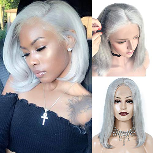 Brazilian Virgin Human Hair Grey Short Bob Wigs Bleached Knots Straight Glueless 150% Density Lace Front Wig For Women 8inch
