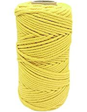 4MM Macrame Cord, Macrame Cotton Rope, 109Yard Twine String 4-Strand Twisted Polyester Cotton Cord, Wall Hangings,DIY Crafts and Garden Decoration, 328 Feet
