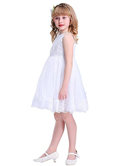 Amazon.com  Bow Dream Ivory Off White Lace Vintage Flower Girl s ... 241f0f5f8