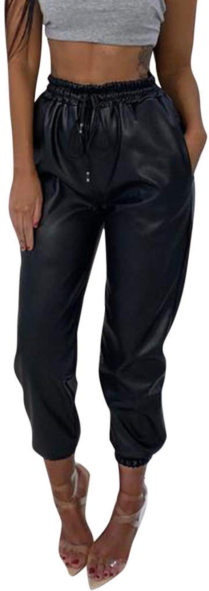 Da Donna Donna in Finta pelle Vita Alta Pantaloni Sportivi Jogging Bottoms pants pantaloni