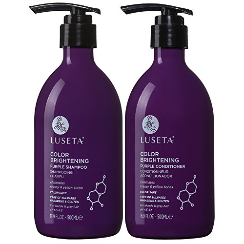 Luseta Color Brightening Purple Shampoo and Conditioner Set for Blonde and Gray Hair, Infused with Cocos Nucifera Oil to Help Nourish, Moisturize and Condition Hair, 2x16.9oz (Best Shampoo And Conditioner For Soft Hair)