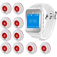 Wireless Restaurant Pager Calling System Table Service Call Buzzers Beepers Caregiver Alert Hospital Kitchen Patient Nursing Church Cafe Shop 1pc Wrist Receiver + 10pcs Waterproof Call Buttons