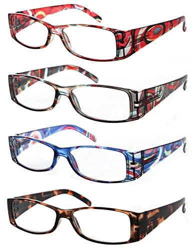Fiore® Cool Hip Rectangular Reading Glasses Light Weight, Spring Hinges (4 pack) - Glasses Hip