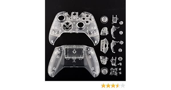 Haihuic Transparent Clear Full Housing Shell Replacement Cover Kit with Buttons for Microsoft Xbox ONE Replacement