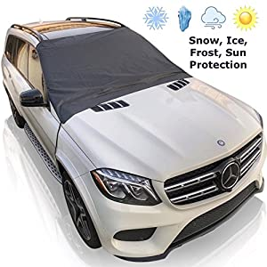 Extra-Large Magnetic Windshield Cover by AR-KA. XL Size - Fits Most Vehicles. 6 magnets, Inside Buckles with Secure Elastic Tire Straps. Best for Ice, Snow, Frost and Sun Protection.