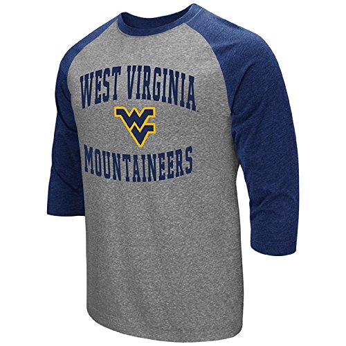Virginia Baseball - Colosseum Men's NCAA-Raglan-3/4 Sleeve-Heathered-Baseball T-Shirt-West Virginia Mountaineers-Large