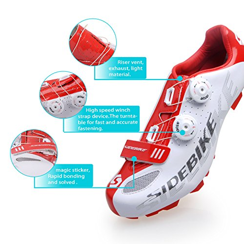 MTB Mountain Bike / Fahrrad SPD-Schuhe für Männer und Frauen weiß / rot gemischten EU Größe 45 Schuhlänge 29cm Schuh Vorfuß Breite: 9.357cm