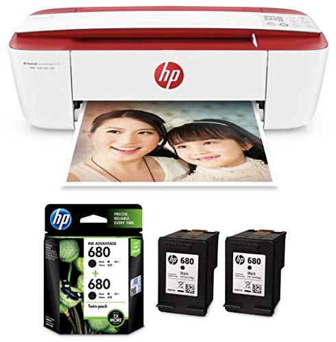 HP DeskJet Ink Advantage 3777 T8W40B All in One Printer   HP 680 Black Ink Cartridges Twin Pack  X4E79AA