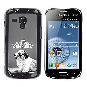 YOYOYO Smartphone Protección Defender Duro Negro Funda Imagen Diseño Carcasa Tapa Case Skin Cover Para Samsung Galaxy S Duos S7562 - perrito lindo del sabio Yo soy el que el texto negro