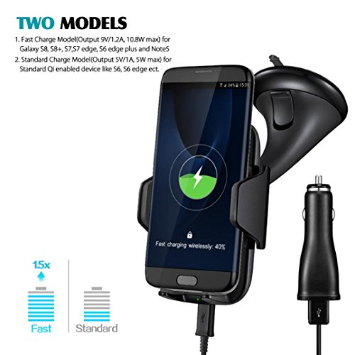 Xisheep Wireless Car Charger, Fast Charging Car Mount Car Phone Holder for Samsung Galaxy S9/S9+/S8/S8+/S7/S7 Edge/S6 Note 8/5 iPhone/X/8/8 Plus with All Qi-Enabled (Wind Charger Phone)