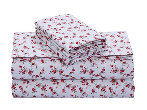 FEATHER & STITCH NEW YORK Luxury Cotton Flannel Sheets with Deep Pocket, Warm for Winter, Cozy, Lightweight, Winter Sheet Sets (King, Red Floral)