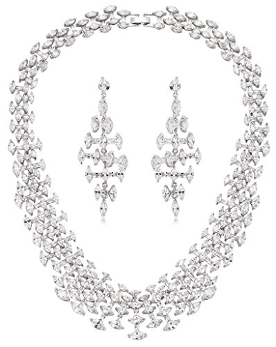 AliMab Women's Silver Plated Bone Cubic Zirconia Stud Earrings and Pendant Necklace Silver Jewelry Set by Alimab