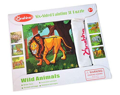 Wooden Wild Animals Cube Block Puzzle - 6 Puzzles in 1 (9 pcs) with Storage Cloth Bag