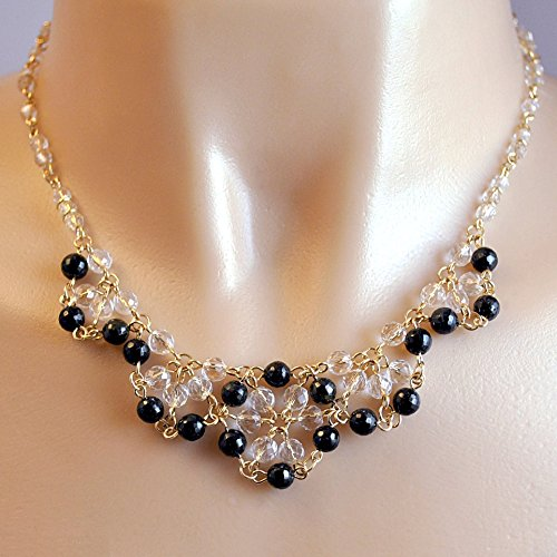 Black Tourmaline Chain Maille Necklace, Artisan Handcrafted in 14K Gold Filled. One of a Kind