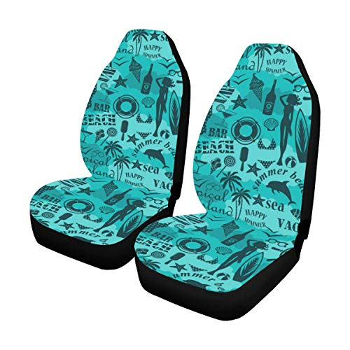 - InterestPrint Seamless Beach Pattern Car Seat Covers Set of 2 Protector