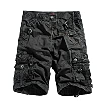 WenVen Mens Cotton Twill Cargo Shorts Outdoor Wear Lightweight