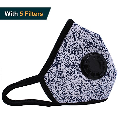 Muryobao Anti Pollution Mask Military Grade N99 respirator Mask With Valve Replacement Filter Washable Cotton Anti Dust Mouth Mask For Men Women Blue and White