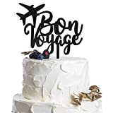 Bon Voyage Plane Black Acrylic Cake Topper Celebrate Farewell Going Away Adventure Travel Gift Party Decoration.