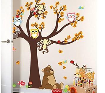 HALLOBO Wandtattoo Eule Baum Bär Affe Hirsch Wandsticker Aufkleber  Kinderzimmer Vögel