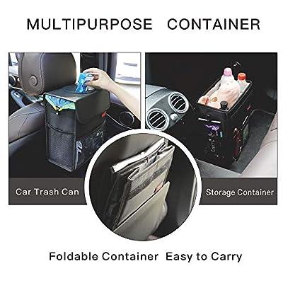 Car Garbage Can with Lid Multipurpose Trash Bin for Car Portable Car Trash Bag with Storage Pockets Hanging Car Trash Can100% Leak-Proof Car Organizer (Black): Automotive