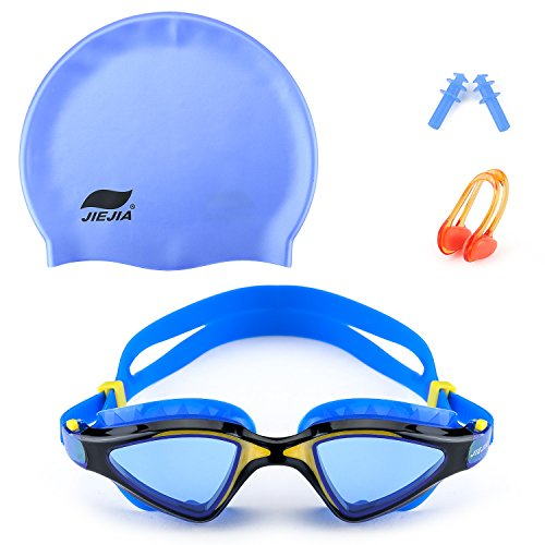 Mee'sport Swim Goggles Set with Anti Fog UV Protection Swimming Goggles Swimming Cap Ear Plugs Nose Clip Swimming Equipment Toys Games Triathlon Equipment for Adult Men Women Youth Child Boys Girls