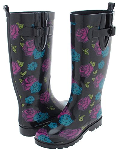Capelli New York Shiny Rose Garden Printed Ladies Rubber Rain Boot Navy Combo - The Gardens Mall