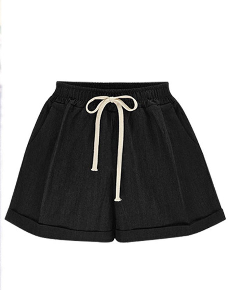 FOURSTEEDS Womens Wide Leg Elastic Waist Drawstring Solid Color Plus Size Ruffle Casual Shorts with Pocket Black US 8-10/Tag Size 2XL