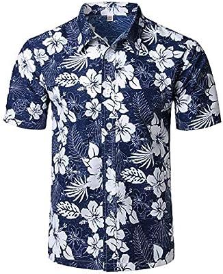LFNANYI Mens Hipster Hojas Imprimir Camisa Hawaiana Moda de Verano de Manga Corta Camisa Floral Hombres Casual Vacaciones Vacaciones Tops Camisas S como Muestra la Imagen: Amazon.es: Deportes y aire libre