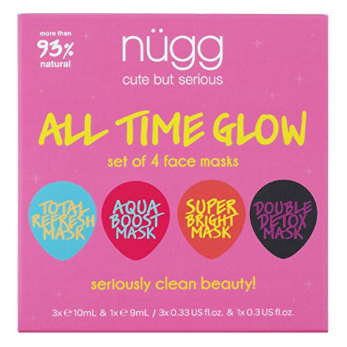 (nügg Face Mask Glow Kit for Clean, Radiant and Dewy Skin; Pack of 4 Facial Mask Pods to Detox, Exfoliate, Hydrate and Revitalize Skin; Perfect Face Treat or Beauty Gift Set (4 x 0.33fl.oz.))