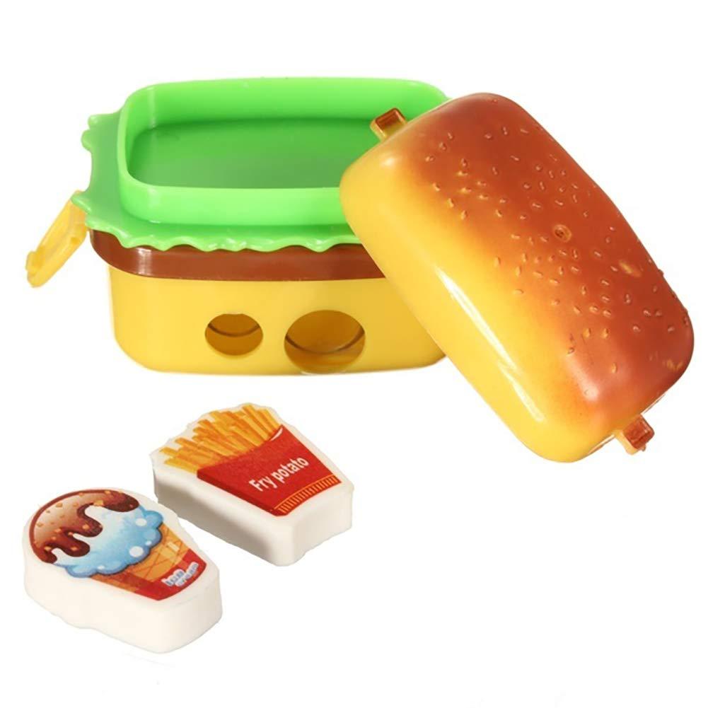 Engdash Double-Layer simulazione hamburger temperamatite con 2 gomme creative studio forniture (2 pz)