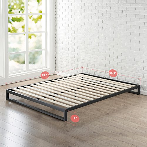 Zinus 7 Inch Heavy Duty Low Profile Platforma Bed Frame, Mattress Foundation, Boxspring Optional, Wood Slat Support, Queen