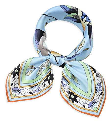 corciova Women 100% Mulberry Silk Neck Scarf Small Square Scarves Neckerchiefs Flowers Baby Blue ()
