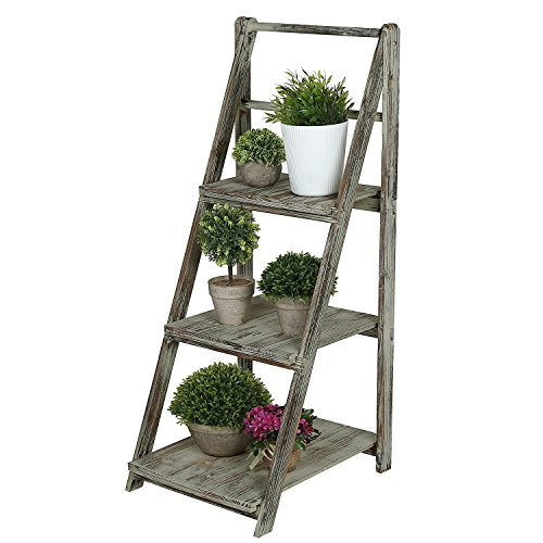 3 Tiered Rustic Torched Wood A-Frame Ladder Shelving Display Stand, Bookshelf Storage Rack (Antique Wood Ladder)
