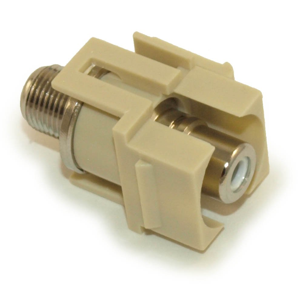 MyCableMart Wall Plate: Keystone Jack - RCA to F-Type (Coax), Nickel Plated, Ivory
