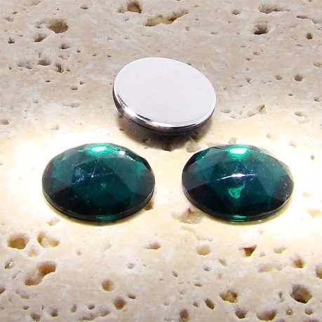 PlasticBeadsWholesale Jewel-Tone Faceted Round Cabochons | Plastic Acrylic Lucite Flatback Beads for Jewelry Making |Emerald Jewel Tone 15MM Lots of 144 ()
