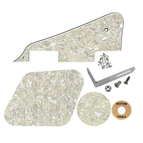 FLEOR 4Ply Aged Pearl Guitar Pickguard Scratch Plate Back Plate Guitar Screws Set & Toggle Switch Plate(Cream) & Silver Bracket Fit Gibson Les Paul Pickguard Replacement
