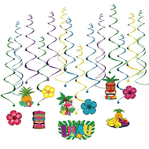 ZAMTAC BESTOMZ 30pcs Hawaii Dizzy Danglers Luau Party Spiral Foil Hanging Decoration