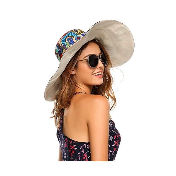 f3ddd16c Women's Packable Extra Large Brim Floppy Sun Hat Reversible UPF 50+ Beach  Sun Bucket Hat