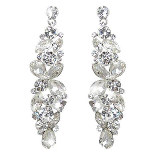 EVER-FAITH-Bridal-Tear-Drop-Flower-Cluster-Dangle-Earrings-Crystal-Rhinestone