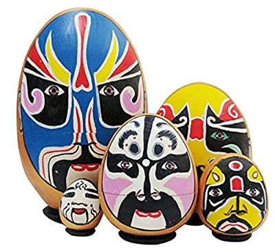 Special Unusual Sichuan Opera Face Changing Theme Egg Shape Handmade Wooden Russian Nesting Dolls Matryoshka Dolls Set 5 Pieces For Kids Toy Birthday Christmas Gift Home Decoration Collection