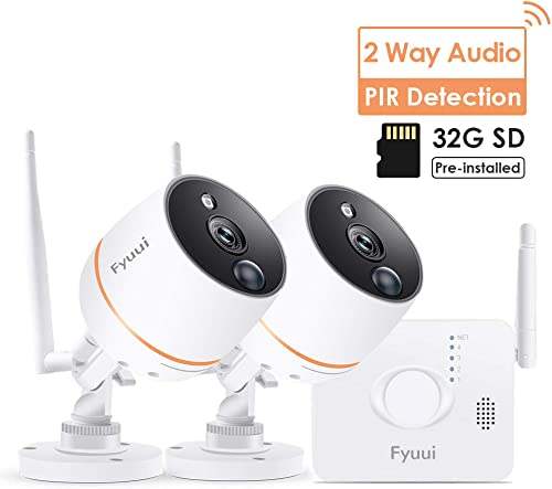 Wireless Security Cameras System, Fyuui 4CH 1080P NVR 32G Card Included with 2pcs 1080P Wireless WiFi IP Camera Outdoor Indoor, 2-Way Audio, PIR Motion Detection, 100ft Night Vision, Remote Access
