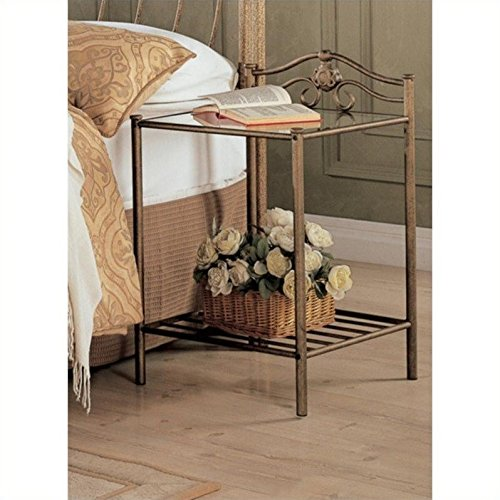 Coaster Home Furnishings 300172 Night Stand in Antique Gold Finish Metal (Antique Wrought Iron Furniture)