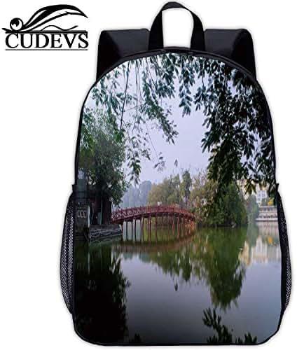 The Huc Bridge at The Hoan Kiem Lake in The Heart of Hanoi,Girl Bag,044707,Vintage,13in 9.4
