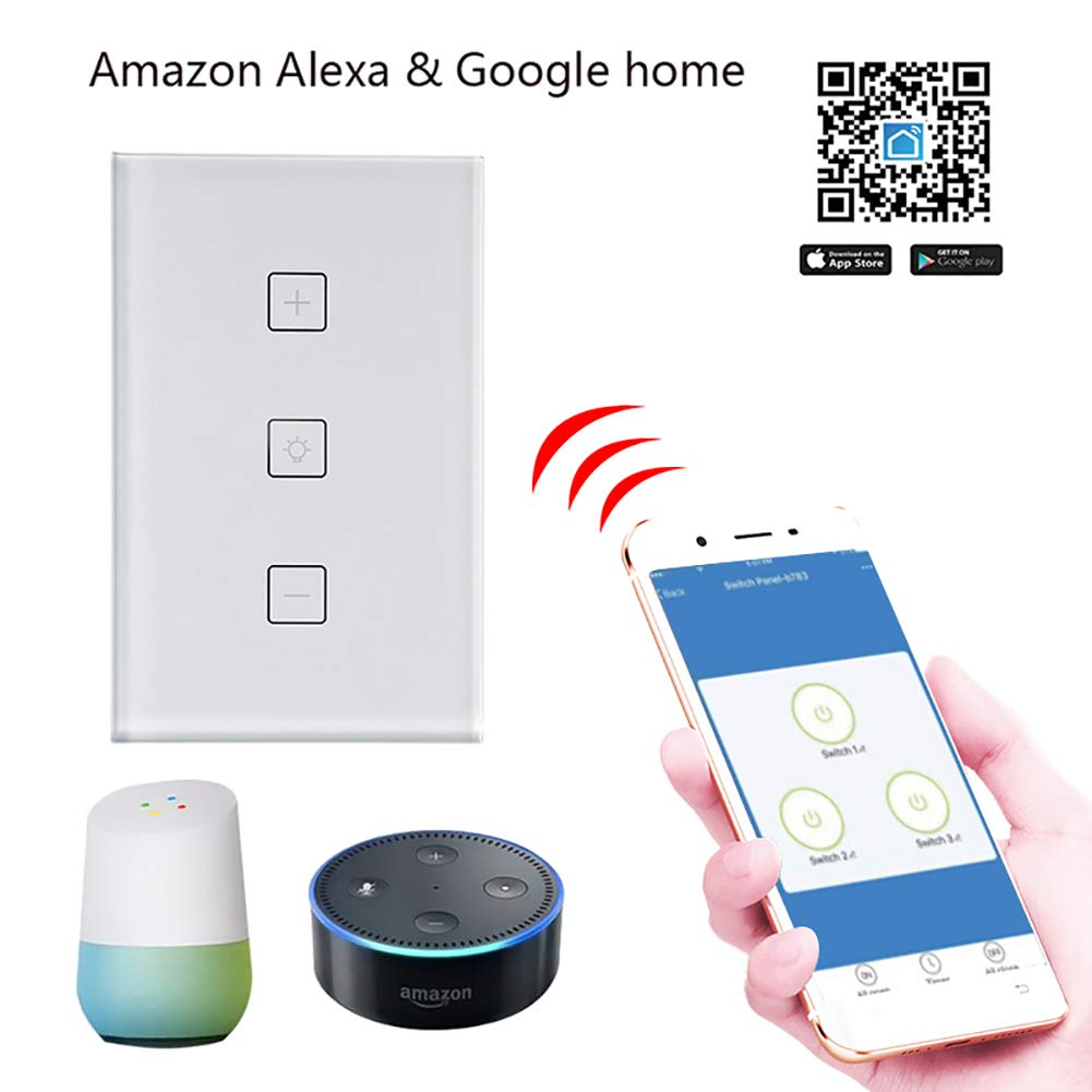 BEESCLOVER WiFi LED Dimmer Switch Dimming Panel Switch Connected to Alexa Google Home Voice Control Dimmer for LED Lamps EU Plug