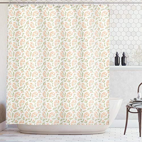 Lunarable Floral Shower Curtain by, Ornamental Blooms of Art Nouveau Beauty Essence Leaf Bouquet Design, Fabric Bathroom Decor Set with Hooks, 75 Inches Long, Dark Coral Peach Sage Green ()