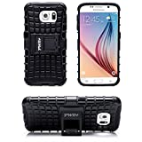 Pwr+ Samsung-Galaxy-S6 Protective-Case-Cover-with-Stand Black : Premium Shockproof Case Stand (Not for S6 Edge)