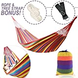 Extra Long 2 Person Brazilian Double Hammock Bed for Indoor Outdoor Backyard Porch Travel Camping with Sturdy Rope Tree Straps and Carrying Case | Durable Soft Cotton Fabric Holds Up to 475 lbs | 19.5