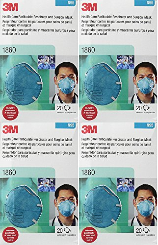 3M 1860 N95 RESPIRATOR AND SURGICAL CkhwB MASK, 20 Count ...